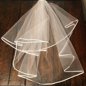White 2 Tier Satin Trim Veil